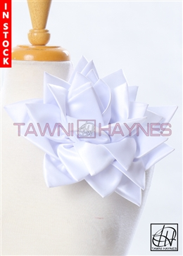 Tawni Haynes Petal Flower Pin (11 inch) - White Poly Satin