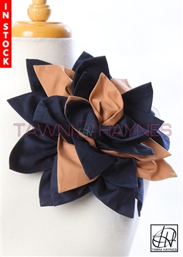 Tawni Haynes Petal Flower Pin (11 inch) - Navy/Tan Stretch Cotton