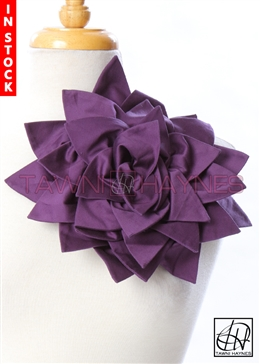 Tawni Haynes Petal Flower Pin (11 inch) - Purple Stretch Cotton