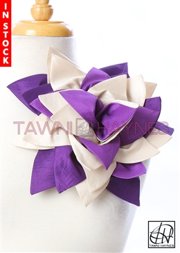 Tawni Haynes Petal Flower Pin (11 inch) - Purple/Champagne Stretch Taffeta