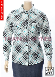 Tawni Haynes In-Stock Plaid Light Weight Cotton Boyfriend Blouse