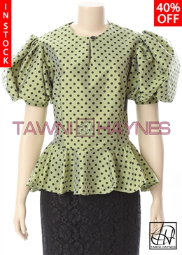 Tawni Haynes In-Stock Polka-Dot Poly Dupioni Blouse