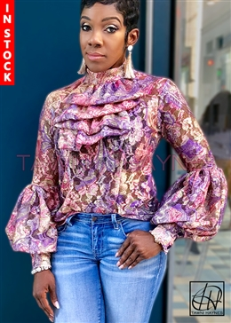 In-Stock! Paisley Lace Burnout Winding Ruffle Blouse