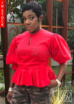 Tawni Haynes In-Stock Stretch Cotton 3qtr Puff Sleeve Peplum Blouse