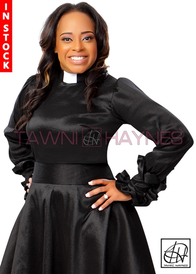 Tawni Haynes In-Stock Ruffle Cuff Clergy Blouse in Solid Stretch Taffeta