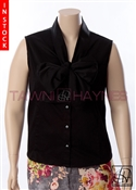 Tawni Haynes In-Stock Sleeveless Black Stretch Cotton Bow Blouse