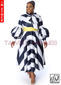 Tawni Haynes In-Stock Swing Bow Dress in Striped Poly Satin