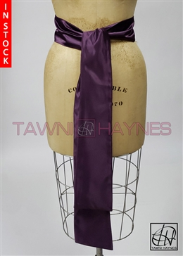 In Stock! Eggplant Poly Satin Sash