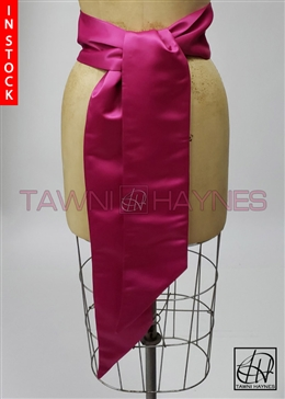 In Stock! Fuchsia Poly Satin Sash