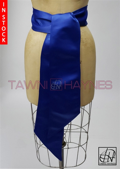 In Stock! Royal Blue Poly Satin Sash