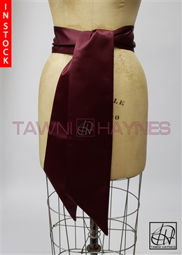 In Stock! Wine Poly Satin Sash