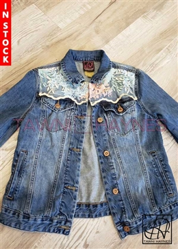 Tawni Haynes In-Stock Beaded Lace Standard Length Denim Jacket