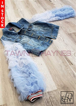 Tawni Haynes In-Stock Cropped Stonewash Denim Jacket with Tulle Layered Sleeves and Contrast Cuff