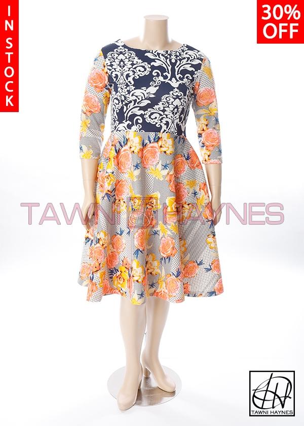 64c28c80fce70 In-Stock V-Back Light Weight Scuba Floral Motif Swing Dress