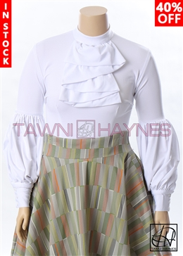 Tawni Haynes In-Stock Winding Ruffle Blouse in Solid Stretch Taffeta