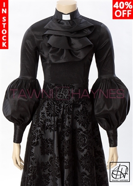 Tawni Haynes In-Stock Winding Ruffle Clergy Blouse in Solid Stretch Taffeta