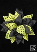 Lime Black Polka Dot Mixed Petal Flower Pin