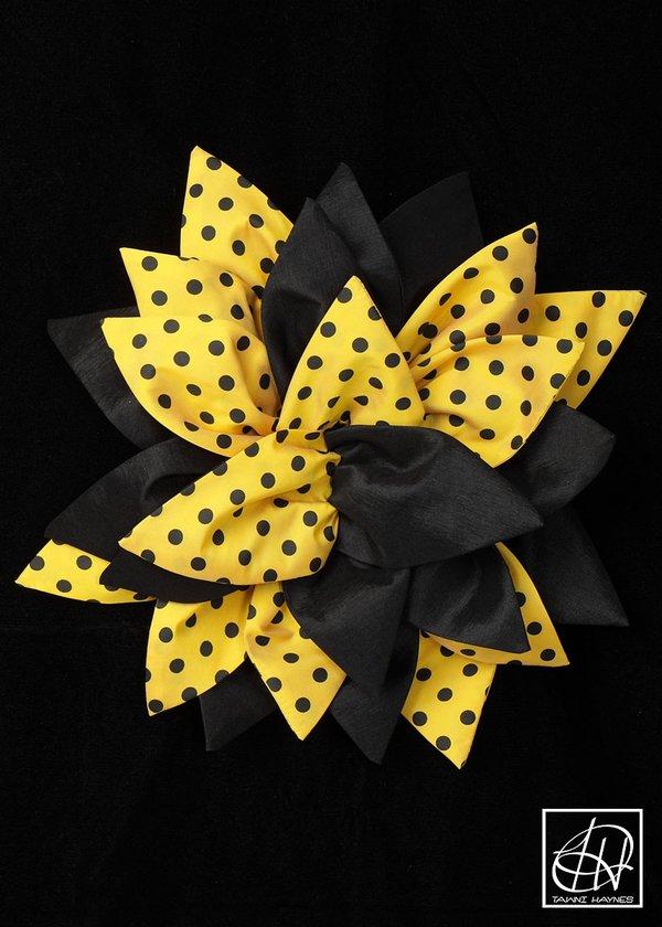 Yellow Black Polka Dot Mixed Petal Flower Pin