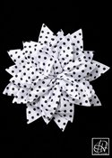 White Black Polka Dot Petal Flower Pin