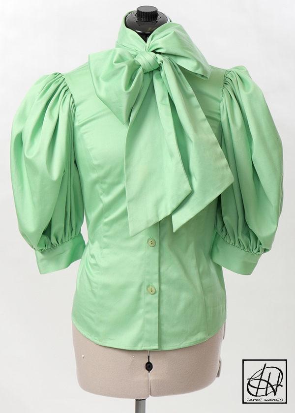 b34d6d92a91749 Stretch Cotton Bow Blouse