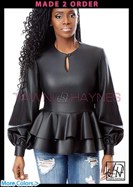 Vegan Leather Peplum Blouse