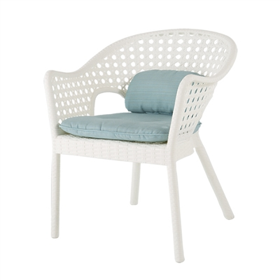 IRIS RATTAN DINING CHAIR WITH LOW BACK CUSHION ( Set of 4 )