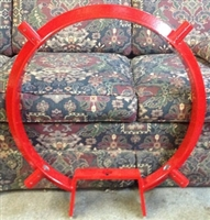 "Clark Steady Rest -18"" Wrap Around Base with 4 equally spaced arms and wheels in red shown without arms and off the lathe."