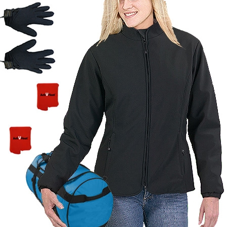61ce2c4b53a ActiVHeat Women's Battery Heated Insulated Soft-Shell Jacket + Weightless  Glove Liner ALL-DAY Bundle
