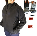 ActiVHeat Women's Battery Heated Insulated Soft-Shell Jacket with Zip-Off Sleeves + Women's Insulated Glove Bundle