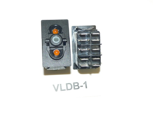 VLDB-1 Carling (ON)/OFF/(ON) double pole momentary rocker switch, amber  lamps in position #1&2  VLDB-1