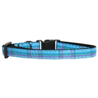 Blue Plaid Nylon Ribbon Breakaway Cat Collar