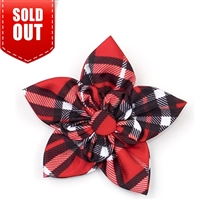 The Worthy Dog Bias Plaid Red Collar Flower