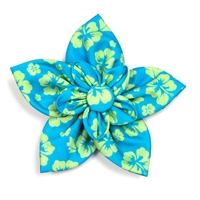The Worthy Dog Aloha Turq Flower Collar Flower