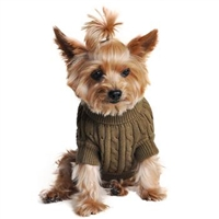Combed Cotton Cable Knit Dog Sweater - Herb Green