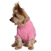 Combed Cotton Cable Knit Dog Sweater - Candy Pink