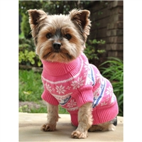 Combed Cotton Snowflake and Hearts Dog Sweater-Pink