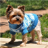 Combed Cotton Snowflake and Hearts Dog Sweater-Blue