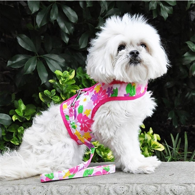 Pink Hawaiian Floral Fabric Dog Harness