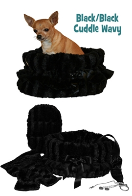 Black/Black Reversible Snuggle Bug w/ Black Ruffle Trim