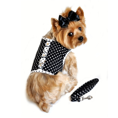 Black and White Polka Dot Harness and Leash