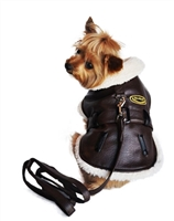 Brown Vintage Bomber Coat with Leash