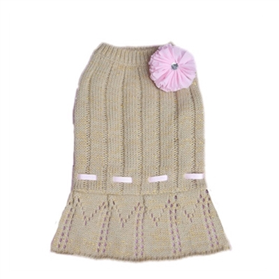 Cassidy Sweater Dog Dress-Gold