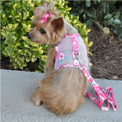Cool Mesh Dog Harness-Hawaiian Hibiscus-Pink