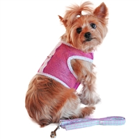 Cool Mesh Dog Harness-Pink and Green Plaid