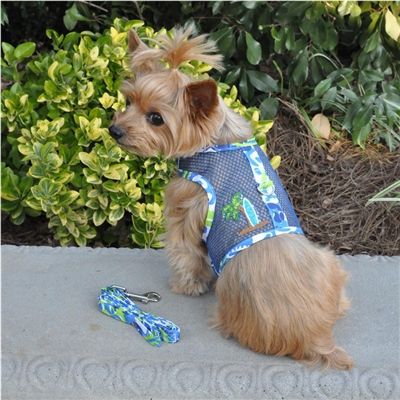 Cool Mesh Dog Harness-Surfboard Blue and Green