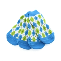 Doggie Design Non-Skid Dog Socks-Blue and Green Argyle