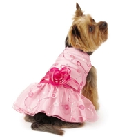 Elegance Pink Rosette Dog Dress