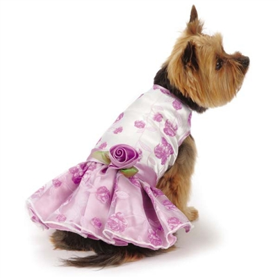 Elegance Purple Rosette Dog Dress
