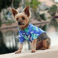 Hawaiian Camp Dog Shirt-Ocean Blue and Palms