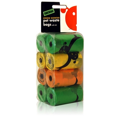 Lemon Scented Biodegradable Waste Pick-Up Bags - 8 Refill Rolls
